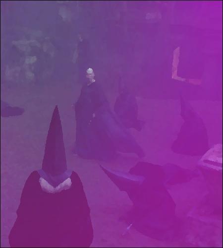 Voldemort excelle dans le rôle de l'orateur... l'autre personnage principal est cloué à une tombe, sous le regard apathique de la pleine lune... Les spectateurs, en demi-cercle, en prennent plein les yeux... Manquent à l'appel :