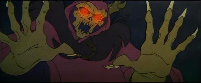"""Le Seigneur des ténèbres dans """"Taram et le chaudron magique"""", lui a déjà une tête de mort, mais il va y passer quand même, à vous de trouver comment ?"""