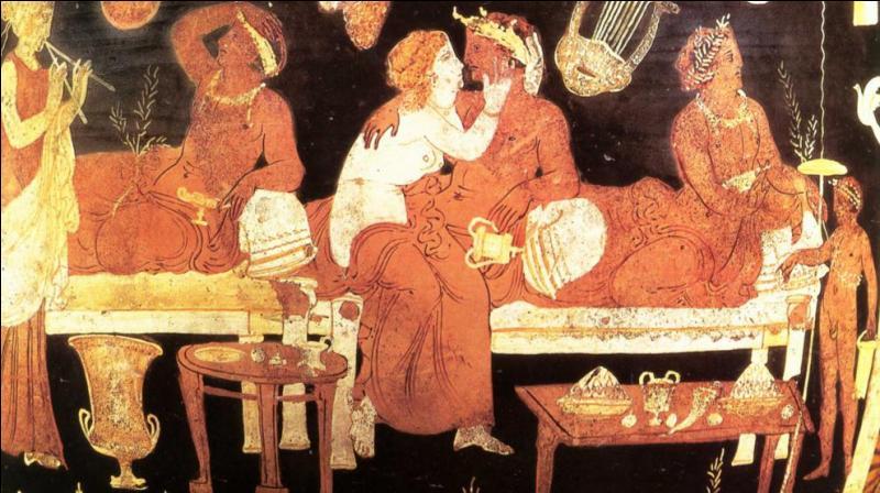 """Après le repas, le symposium ( la réunion où l'on boit) ! Après avoir fait une libation, les convives désignent un """"roi du banquet"""" qui fixe les proportions de vin et d'eau que l'on mélangera dans le cratère ainsi que le nombre de coupes qui seront bues. Ce n'est plus une beuverie mais carrément un acte rituel ! Tout en buvant, ils débattent sur un thème choisi par exemple. Un livre de Platon ?"""