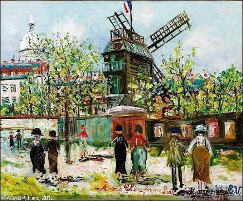 """Qui est l'auteur de cette huile sur toile qui représente le célèbre """"Moulin de la Galette"""" de Montmartre dans le 18e à Paris ?"""