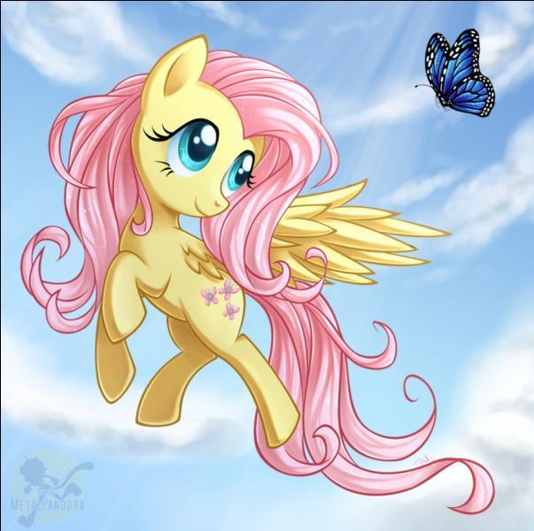 """Dans """"My Little Pony"""", quel est le nom de la ponette qui est très peureuse, gentille, douce, affectueuse et qui aime beaucoup les animaux, elle est jaune et a la crinière rose ?"""