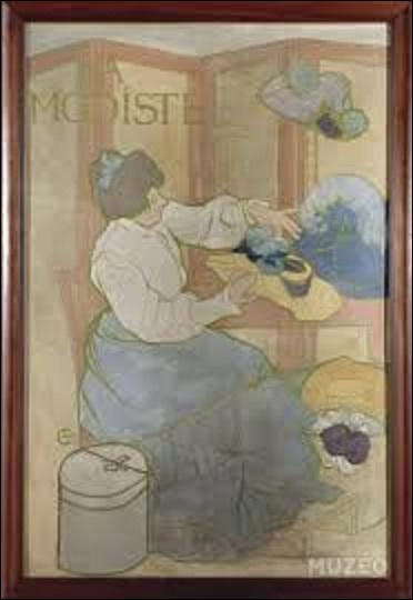 """Sculpteur et médailleur, cet artiste de l'École nationale supérieure des Beaux-Arts, ne laisse à la postérité que très peu de toiles comme cette dernière appelée """"La modiste"""", huile sur toile (H : 1, 45 m x L : 0, 97 m) peinte en 1898. Maître français de l'Art nouveau, quel est son nom ?"""