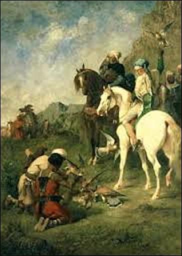 """Quel peintre du mouvement orientaliste et aussi écrivain (1820-1876) a créé cette huile sur toile (H : 1, 62 m x L : 1, 18 m) s'appelant """"Chasse au faucon en Algérie : la curée"""" vers 1863 ?"""