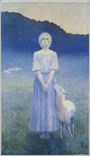 """Ce tableau (H : 2, 35 m x L : 1, 38 m) présenté au Salon de la Société nationale des Beaux-Arts de 1892 portant le nom de """"Vision"""" représente une hallucination de Sainte Geneviève, la patronne de Paris. Mais quel peintre symboliste (1857-1939) a créé cette oeuvre ?"""