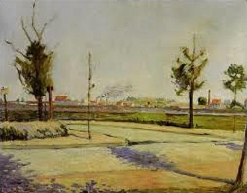 """Quel est le nom de ce peintre (1863-1935) de style néo-impressionniste, peignant beaucoup de paysages, proche du mouvement libertaire, faisant partie des créateurs du pointillisme, inventant la technique du divisionnisme et cofondateur de la """"Société des artistes indépendants"""", peint cette huile sur toile (H : 0, 73 cm x L : 0, 91 m) en 1883, s'intitulant """"Route de Gennevilliers"""" ?"""