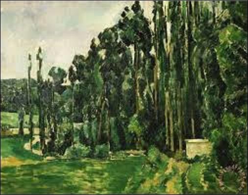 """""""Les peupliers""""est une huile sur toile (H : 0, 65 m x L : 0, 80 m), représentant probablement l'extérieur du parc du château de Marcouville, près de Pontoise (Val-d'Oise). Mais quel impressionniste a peint ce tableau entre 1879 et 1880 ?"""