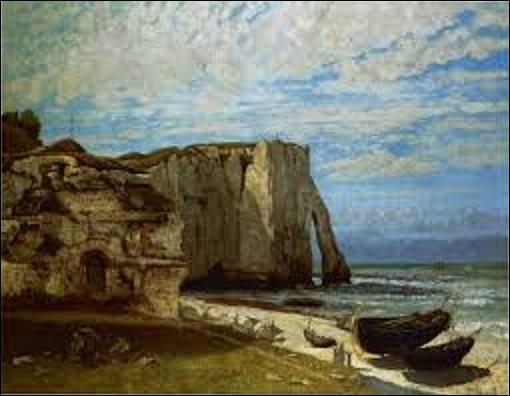 """Quel peintre réaliste (1819-1877) a créé cette huile sur toile (H : 1, 33 m x L : 1, 62 m) appelée """"La falaise d'Étretat après l'orage"""" en 1870 ?"""