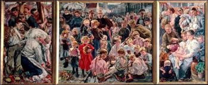 """Peintre symboliste bruxellois (1856-1940), il inscrit son oeuvre dans la grande tradition baroque flamande comme cette huile sur toile (triptyque) intitulée """"Les âges de l'ouvrier"""" créée entre 1895 et 1897. Mais comment se nomme cet artiste ?"""