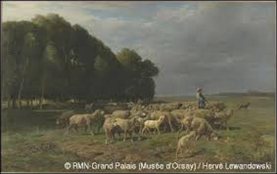 """Huile sur toile (H : 1, 76 m x L : 2, 80 m), peinte en 1861 """"Troupeau de moutons dans un paysage"""" est l'oeuvre d'un peintre, illustrateur et aquafortiste (graveur sur métal) français né en 1813 et décédé en 1894, à Paris. Mais comment se nomme ce dernier ?"""