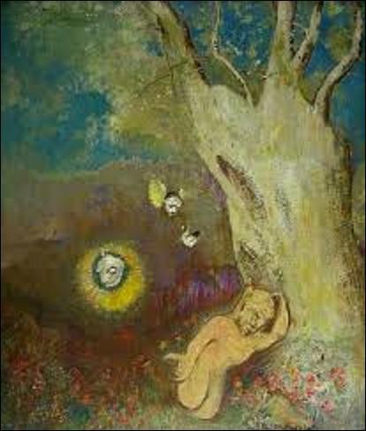 """Comment s'appelle ce peintre du mouvement symboliste (1840-1916) qui crée cette huile sur bois, se nommant """"Sommeil de Caliban"""", entre 1895 et 1900 ?"""