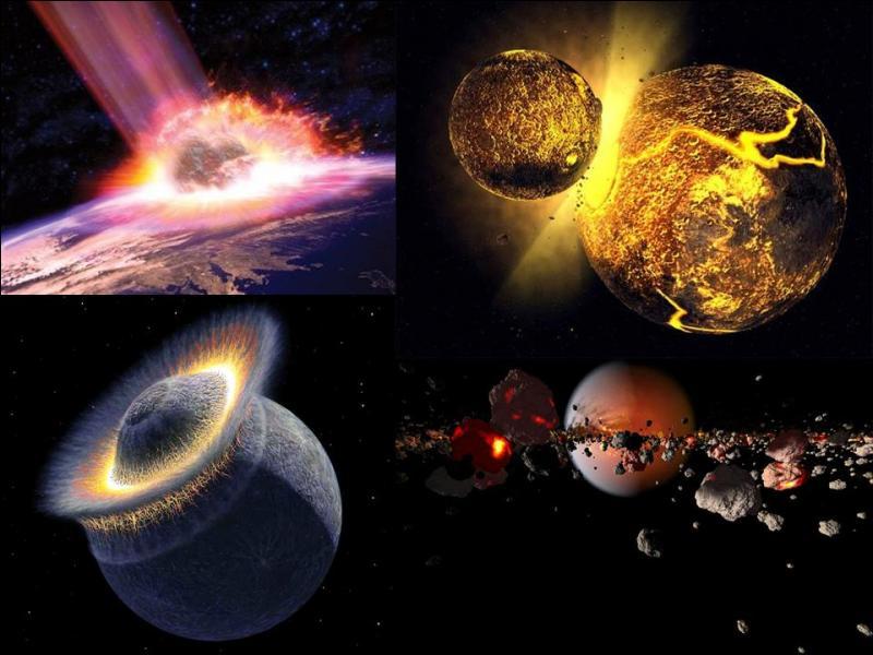 Peut-être que la vie n'aurait pas pu apparaître sur notre Proto-Terre si cette catastrophe ne s'était pas abattu sur elle. Le résultat nous donnera notre Terre et un autre élément que l'on admire presque tous les soirs.Que s'est-il passé ?