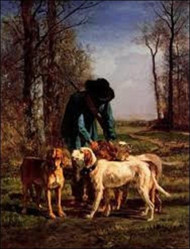 """Quel peintre (1810-1865) de l'École de Barbizon, surtout spécialisé dans les paysages, peint cette huile sur toile intitulée """"Garde-chasse arrêté près de ses chiens"""", en 1854 ? Pour la petite histoire, atteint de folie à la fin de sa vie, il se met à faire des peintures représentant des vaches dans des arbres, pas banal, n'est-ce pas ?"""