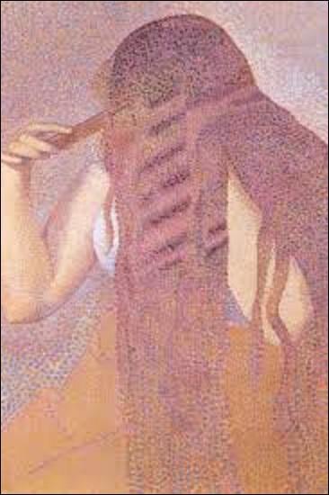 """Dans cette œuvre appelée """"La chevelure"""" (H : 0, 61 m x L : 0, 46 m), datée d'environ 1892, ce peintre (1856-1910) pointilliste, proche du mouvement libertaire, prend pour modèle sa future épouse Irma Clare, alors mariée à l'écrivain Hector France (1837-1908). Mais quel artiste a peint cette huile sur toile ?"""