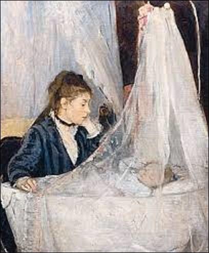 """Ce tableau intitulé """"Le berceau"""" peint en 1872, est sans doute la toile la plus connue de cette peintre impressionniste. Représentant l'une de ses sœurs se prénommant Edma, veillant sur le sommeil de sa fille Blanche, cette toile est la première apparition d'une image de maternité dans l'oeuvre de cette artiste, sujet qui deviendra l'un de ses thèmes de prédilection. Comment s'appelle-t-elle ?"""