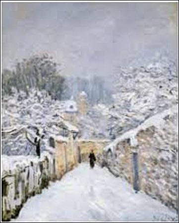 """Quel peintre impressionniste (1839-1899) et graveur a peint, en 1878, cette huile sur toile (H : 0, 61 m x L : 0, 50 m), intitulée """"La neige à Louveciennes"""" ?"""