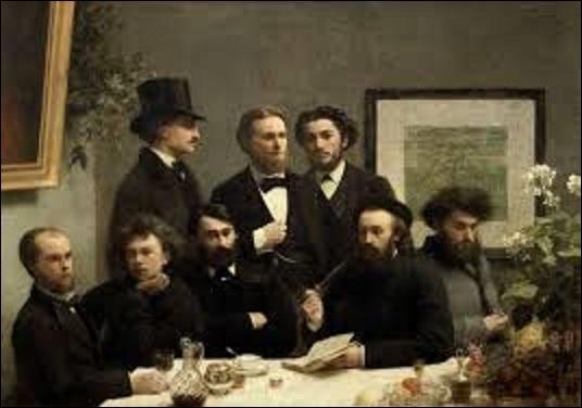"""""""Un coin de table"""" est une huile sur toile (H : 1, 60 m x L : 2, 25 m) de 1872, représentant un portrait de groupe tout autant qu'un témoignage sur l'histoire littéraire du XIXe siècle, du mouvement poétique du Parnasse en particulier. Mais quel artiste réaliste (1836-1904) a créé cette œuvre ?"""