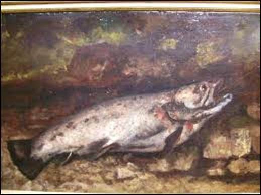 """Huile sur toile peinte en 1873, cette nature morte appelée """"La truite"""", est l'œuvre d'un peintre réaliste. Créant cette peinture alors qu'il séjourne dans sa Franche-Comté natale, après avoir purgé six mois de prison pour avoir participé à la Commune, en 1871, cet artiste s'apprête à cette époque à s'exiler en Suisse où il décédera en 1877. Mais quel est le nom de ce dernier ?"""