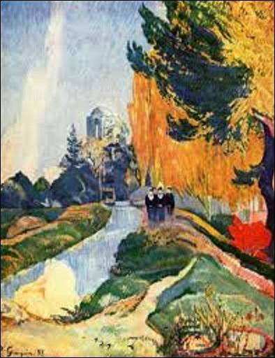 """Pourriez-vous me donner le nom de ce peintre postimpressionniste (1848-1903), chef de file de l'École de Pont-Aven, et inspirateur des nabis, qui a peint à Arles, en 1888, cette œuvre intitulée """"Les Alyscamps"""" ?"""