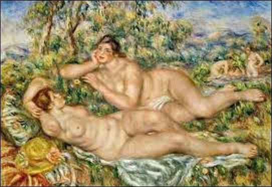 """Ce tableau appelé """"Les baigneuses"""" (H : 1, 10 m x L : 1, 60 m), peint vers 1918 et 1919, est emblématique des recherches menées par cette artiste à la fin de sa vie. En effet, à partir de 1910, ce peintre (1841-1919) membre à part entière du mouvement impressionniste, revient à l'un de ses sujets de prédilection : des nus en plein air, auxquels il consacre de grandes toiles. Mais quel est son nom ?"""