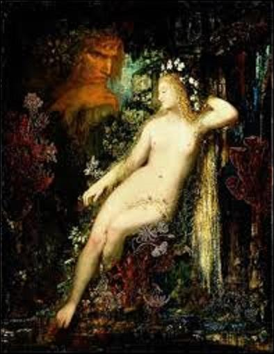 """Le sujet de ce tableau qui est une huile sur bois (H : 0, 85 m x L : 0, 66 m) peinte vers 1880, intitulée """"Galatée"""", est tiré de la 12e fable du livre XIII des Métamorphoses d'Ovide (poète romain né en 43 av. J.-C. et mort vers 18 ap J.-C-) relatant la jalousie du cyclope Polyphème envers l'amour qu'éprouve Galatée pour le berger Acis. Mais quel symboliste (1826-1898) a créé cette œuvre ?"""