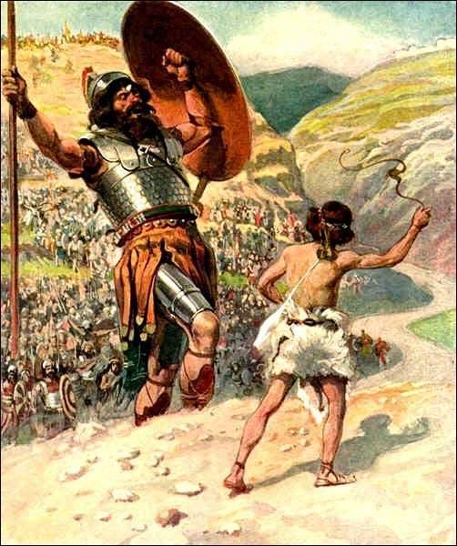 Dans la Bible, le jeune berger, David, met en déroute les ennemis philistins en vainquant l'un des leurs, le géant...