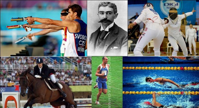Ce sport a été créé par le créateur des JO, Pierre de Coubertin. Il est apparu officiellement en 1912 lors des JO de Londres. Coubertin a voulu reproduire les qualités d'un soldat, ici, les qualités d'un cavalier.Quel est ce sport ?