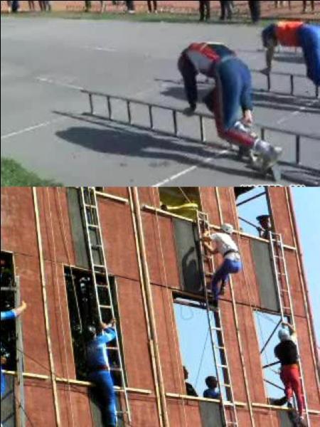 Ce sont les pompiers de new York qui ont mis au point ce sport. Le but est de rejoindre le haut d'un bâtiment ! Il s'appelle le « ladder racing ». Mais comment faut-il faire ?