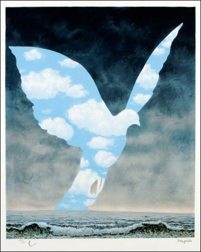 Quel est le titre de cette oeuvre de Magritte représentant un oiseau blanc ?