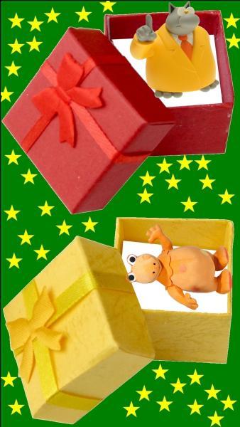 Quelle est la couleur du cadeau pour le petit Philippe Geluck ?