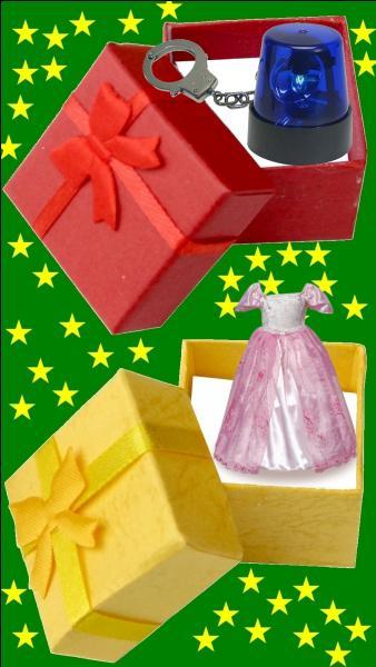 Quelle est la couleur du cadeau pour la petite Véronique Genest ?