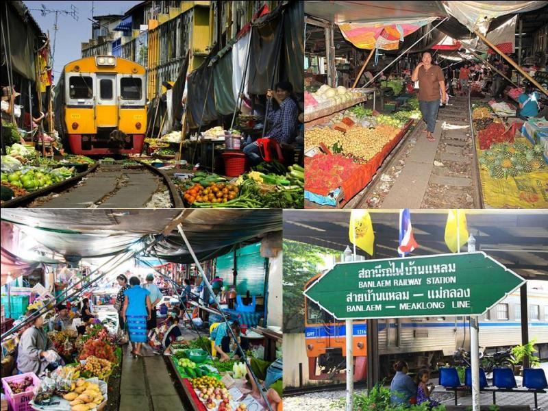 Là, vous allez voyager de façon authentique, carrément intégré à la population de ce pays ! Mais, si vous voulez assister à un spectacle inoubliable et totalement inconcevable en Europe, le passage du train au travers du marché de Maeklong ! Dans quel pays sommes-nous ?