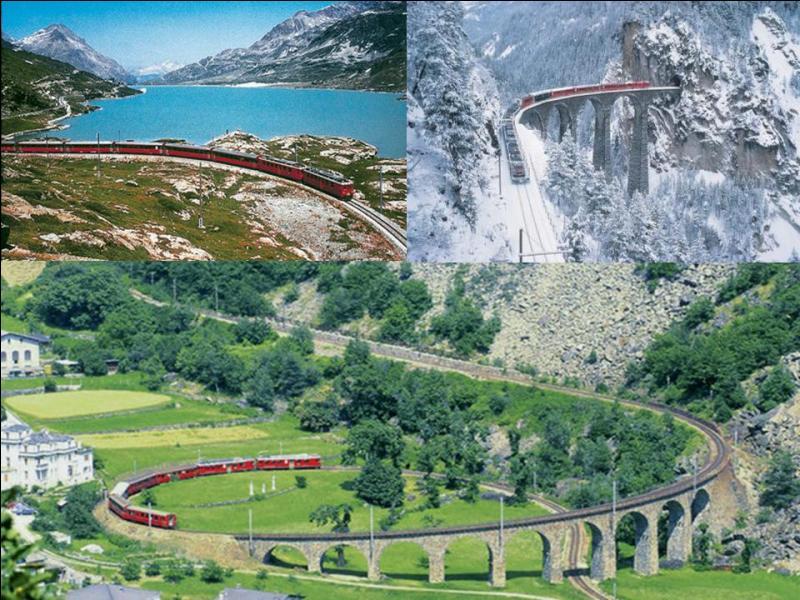 Allons en Suisse, il existe un train, le « glacier express », il permet de relier deux villes de ce pays. Ce train a la particularité d'être le « train rapide le plus lent du monde » (paraît-il) ! Vous partirez aux pieds du Cervin pour rejoindre la ville qui a accueilli les JO d'hiver de 1928 ! Quels ont les deux villes terminus ?