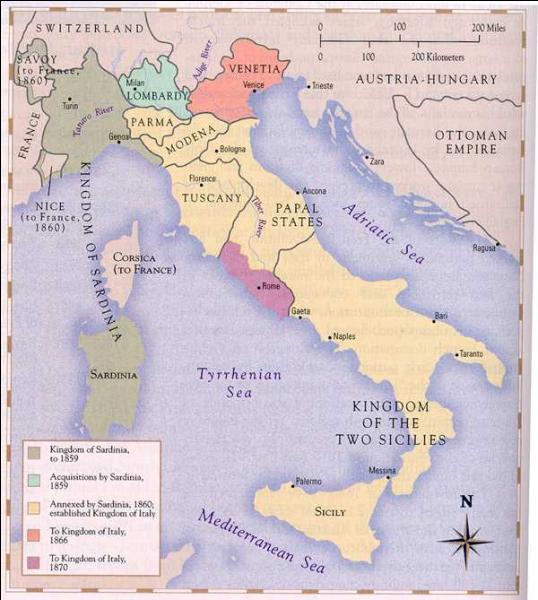Comment appelle-t-on la lente réunification des États italiens ?