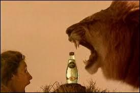 Pour quelle marque d'eau peut-on voir un lion face à une femme dans une publicité ?