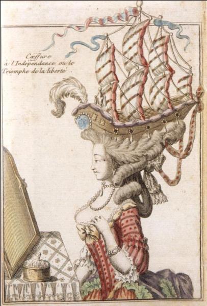 Juste avant le précédent, la pauvre se fit trancher la tête en toute légalité sans pouvoir se changer. Elle alla à la guillotine en haillons, elle qui portait sur ses perruques des bateaux !