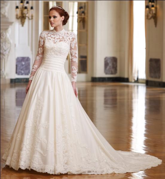 Voici ma robe de mariée. En quelle matière est-elle faite ?