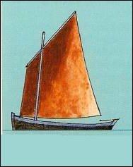 Avec son mât planté bien à l'avant, ce navire va vous faire une misaine ! Mais, il n'est pas à vous : comment est sa voile ?