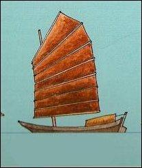 """On reconnaît ici une voile de jonque, montée sur une embarcation nommée """"somme"""" : somme toute, d'où vient le mot """"jonque"""" ?"""