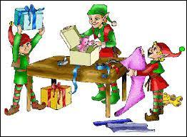 Qui aide le père noel à préparer les cadeaux ?