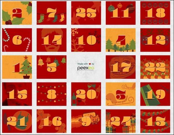 De combien de cases le calendrier de l'avent du mois de décembre se compose-t-il ?