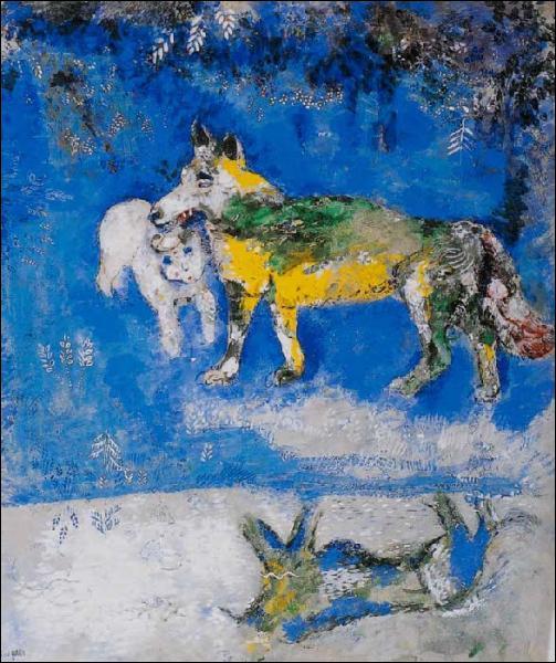 Et nous finirons avec cette jolie gouache de Marc Chagall :
