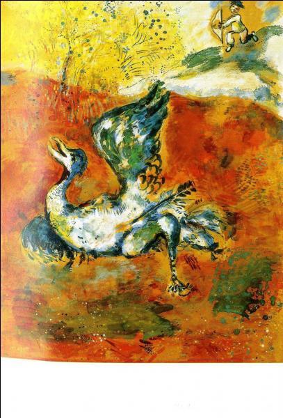 Il est conseillé d'agrandir les images pour vous aider. Je vous montre 20 illustrations des fables de La Fontaine par Marc Chagall, voici la première :