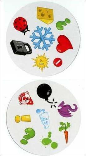 Retrouvez le symbole présent sur les deux cartes :