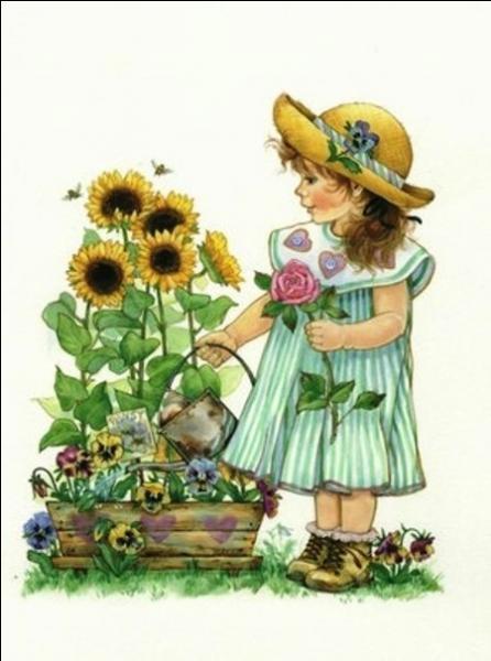 Quelles fleurs cette petite fille arrose-t-elle ?