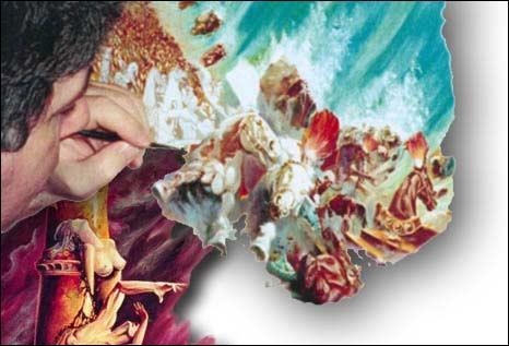 """Peintre français né en 1953, il réalise de nombreuses couvertures de romans pour des éditeurs, collabore à la réalisation d'une oeuvre consacrée à la carrière de Steven Speilberg, il sera primé au salon international de """"Lutèce"""" à Paris pour son tableau intitulé """"Le cirque de Rome"""" : qui est-il ?"""