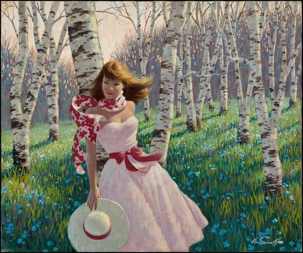 Au milieu de quels arbres se promène cette jeune fille ?