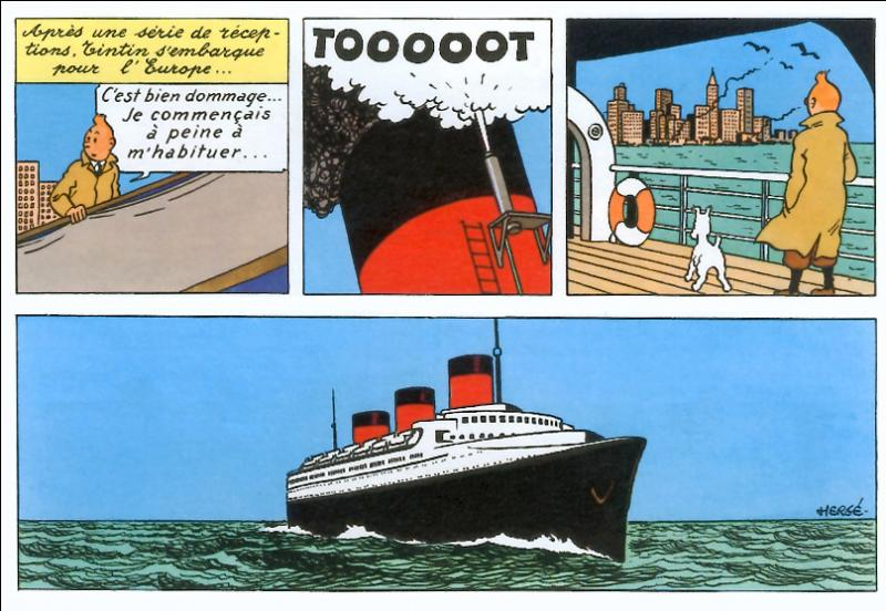Un grand et célèbre paquebot ramène Tintin de New York après ses aventures ; lequel ?