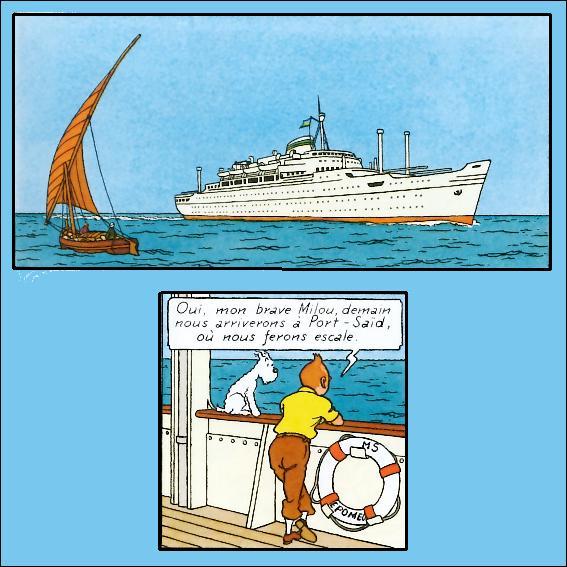 """Au début des """"Cigares du pharaon"""", Tintin se prélasse à bord d'un joli paquebot blanc ; comment se nomme-t-il ? (Cliquez sur l'image pour l'indice ! )"""