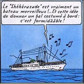 """Sur le """"Shéhérazade"""", Haddock, Tintin et Szut sont recueillis par le milliardaire Di Gorgonzola ; dans quel album ?"""
