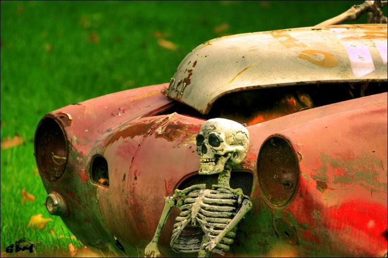 Ayant perdu le contrôle de mon véhicule en raison du verglas, celui-ci alla mourir très doucement ...